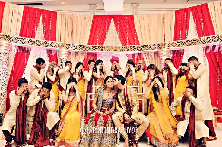 Cute bridal party picture - for more follow my Indian Fashion boards :)