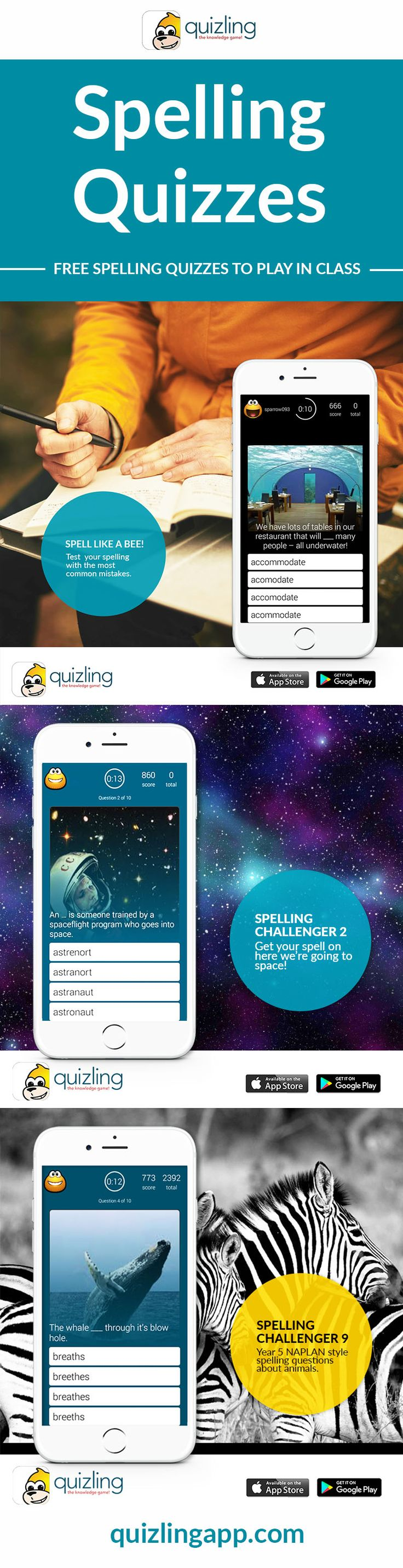 Excellent Free spelling quizzes to help students or children at home practice their spelling skills. Great for teachers looking for fun resources they can use to engage the class.