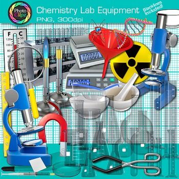 Chemistry Lab Equipment Clip Art: Get your chemistry students excited about volume, density, acids, solutions, and weight/mass with this set of chemistry lab equipment. Design posters to illustrate states of matter and chemical changes.