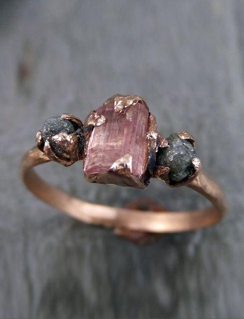 Raw Pink Tourmaline Diamond rose gold engagement ring