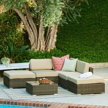 6pcs All Weather Dark Brown Wicker Coffee Table Patio Sectional Set