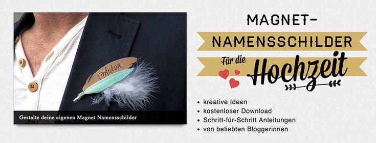 Magnet-Namensschilder für die Hochzeit (Kostenlose Bastelanleitung)