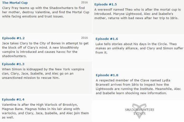 3 серия: Когда Саймона похищает Нью-Йоркский клан вампиров, Клэри, Джейс, Изабель и Алек идут на незапланированную миссию, что бы его освободить.  4 серия: Валентин разыскивает верховного мага Бруклина, Магнусом Бейном. Магнус скрывается в своём логове вместе с магами, а Клэри, Джейс, Изабелла и Алек присоединяются к ним.  5 серия: Появляется оборотень по имени Тео. Мариза Лайтвуд, мать Алека и Изабель, возвращается из Идриса с плохими новостями.