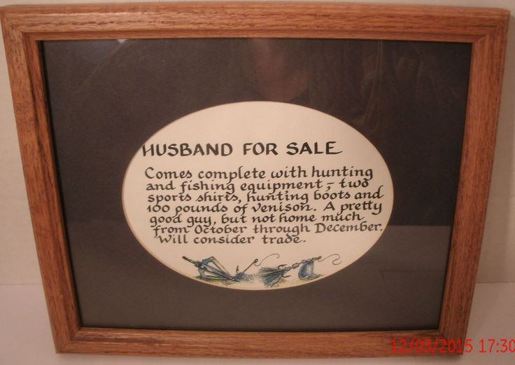 Husband For Sale Calligraphy Wall Sign Picture Saying Hunting Fishing 11x9 Lures