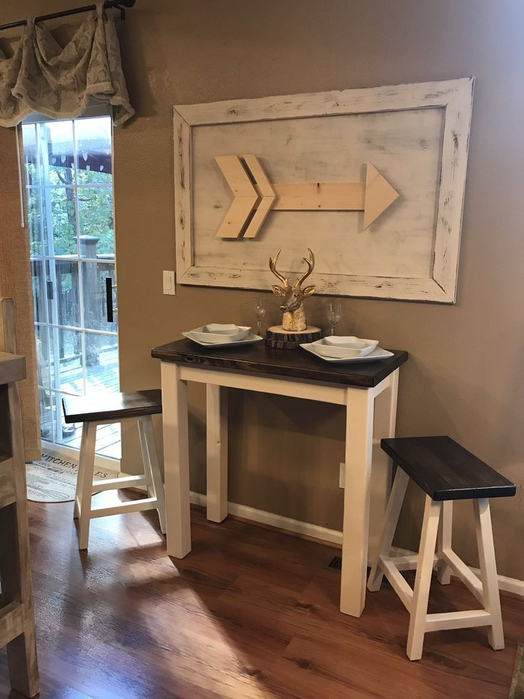 This bistro table and stool set is perfect for small spaces or a breakfast nook we loved building this set with the farmhouse look of a stained top and