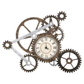 """Hand-painted metal wall clock with a gears design.  Product: Wall clockConstruction Material: MetalColor: Grey and brownFeatures: Hand-paintedAccommodates: (1) AA battery - not includedDimensions: 33.25"""" H x 40.5"""" W x 3"""" D"""