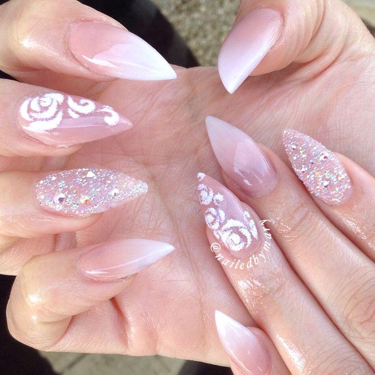 Ombré gradient stiletto pointy elegant simple pretty cute roses sugar Swarvoski Crystal pixie dust French wedding acrylic nails