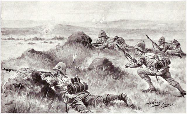 Men of the 2nd Battalion, the King's Shropshire Light Infantry deploying on Gun Hill.