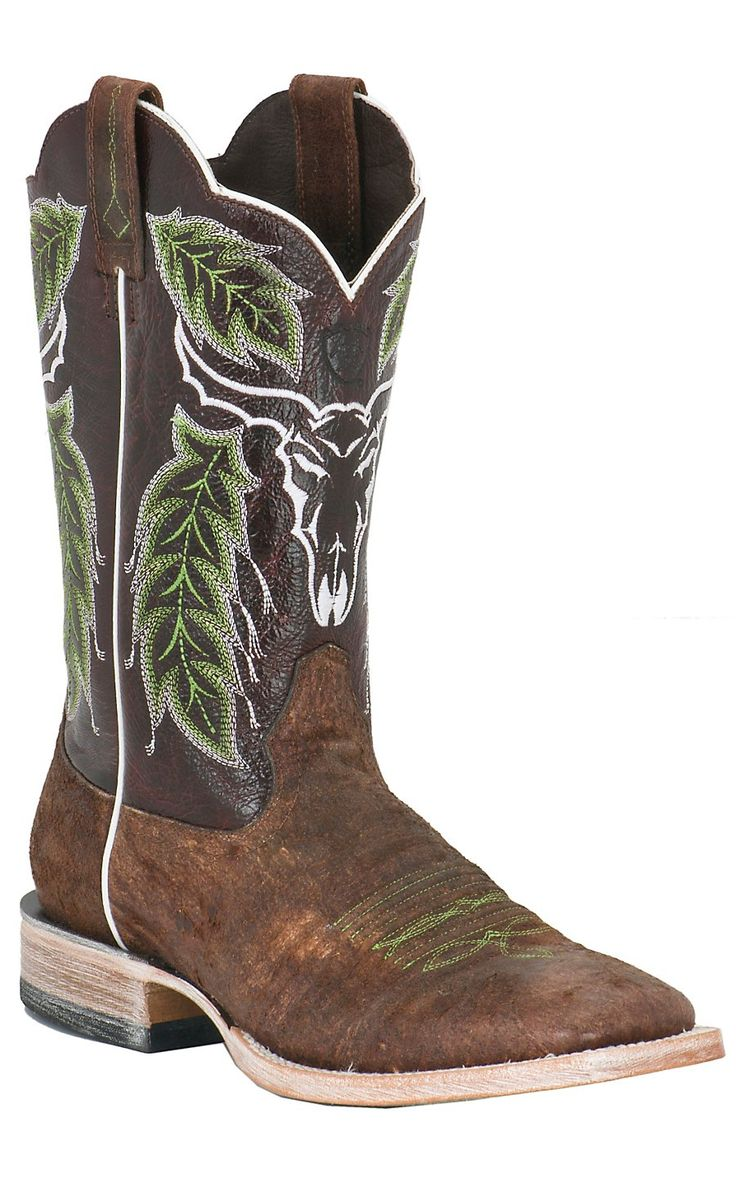Ariat® Outlaw™ Men's Distressed Brown Embroidered Triple Welt Square Toe Western Boot | Cavender's...christmas for hunter!!