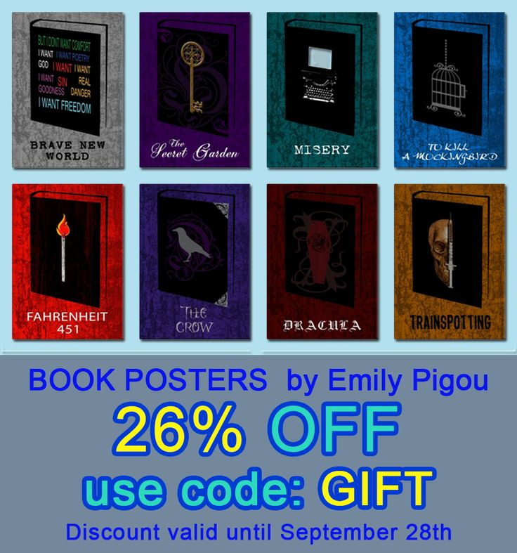Stock up on Gifts - 26% OFF - use code: GIFT. Book Posters by Emily Pigou | Displate #art #home #homedecor #homegifts #style #shopping #online #onlineshopping #books #39 #bookposters #bookworm #family #giftsforhim #giftsforher #modernhome #miseryposter #draculaposter #thecrowposter #fahrenheit451poster #tokillamockingbirdposter #trainspottingposter #bravenewworldposter #thesecretgardenposter