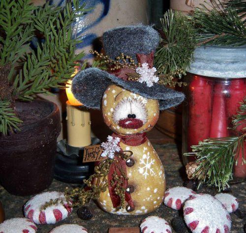 "Primitive Frosty Ornament Christmas 6"" Snowman Doll ★ Vtg Patti's Ratties Bear"