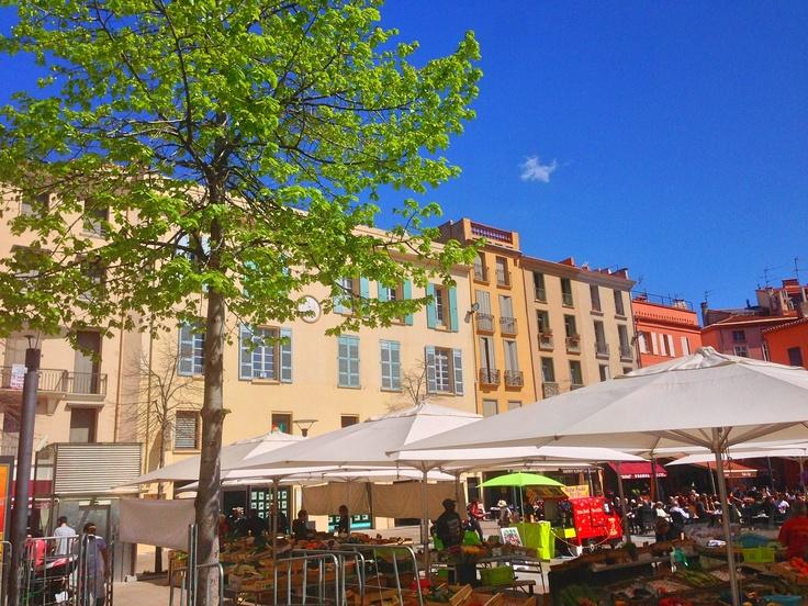 Place Republique Market in Perpignan France in the Languedoc Roussillon