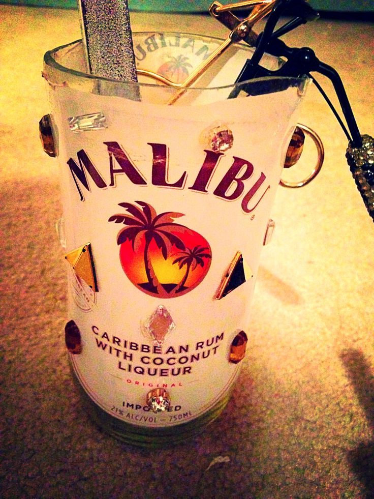 Malibu alcohol bottle cut into a glass and decorated diy for Alcohol bottles made into glasses