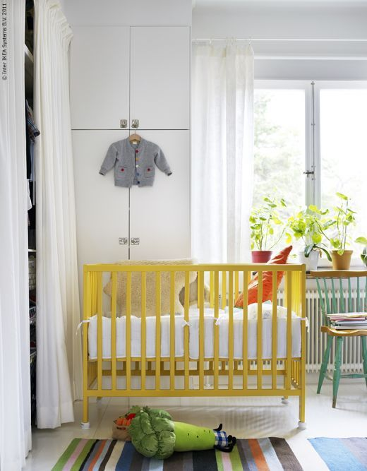 lovely yellow crib:  Cots, Life At Home, Paintings Cribs, Ikea Cribs, Baby Rooms, Yellow Cribs, Gender Neutral Nurseries, White Wall, Kids Rooms