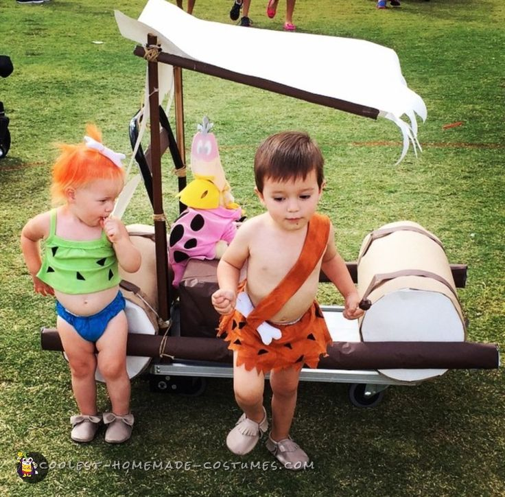 Real Life Pebbles and Bamm Bamm with Working Flintstones car!