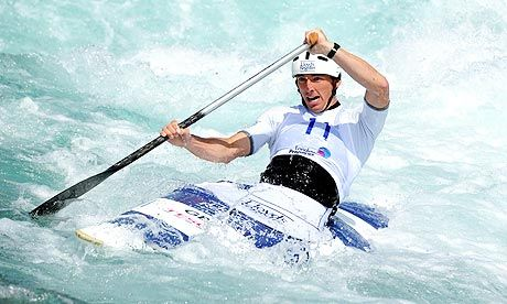 Great Britain's David Florence gets used to the rapids at the Lee Valley White Water Centre in Hertfordshire. Photograph: Anthony Devlin/Pre...
