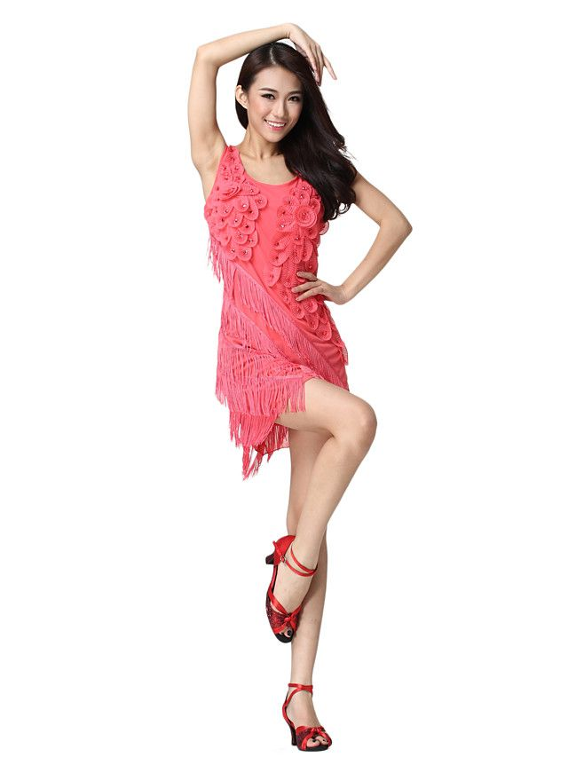 Tulle Robe Vêtements performance avec Fleurs de danse latine pour les dames couleurs plus - USD $ 19.99