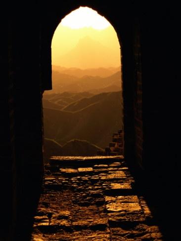 Spektakuläre Aussicht bei Sonnenuntergang, Große Mauer in China.