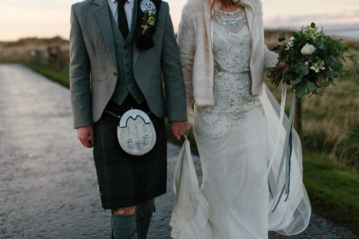 Caro Weiss Photography | Rustic Barn Winter Wedding at Kinkell Byre near St Andrews in Scotland | Jenny Packham Esme Gown | Navy No. 1 Jenny Packham Bridesmaid Dresses | Groom in Kilt