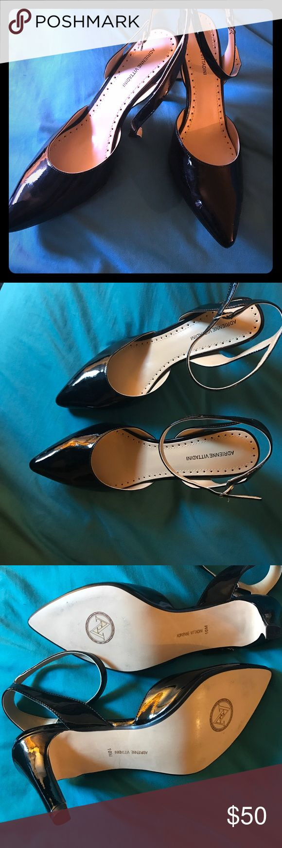 Adrienne Vittadini black patent leather pumps Black patent leather Adrienne Vittadini pumps. Tried them on and walked outside in my patio, once. 😁 they're in excellent condition. Purchased brand new from Macy's! Gorgeous and stylish! Adrienne Vittadini Shoes Heels