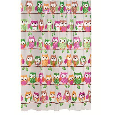 Moda at Home Owl 71-in x 71-in PEVA Shower Curtain