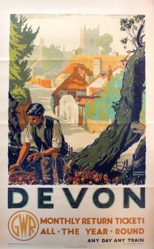 Devon GWR Railway Gardening, 1930s - original vintage poster by Gregory Brown listed on AntikBar.co.uk