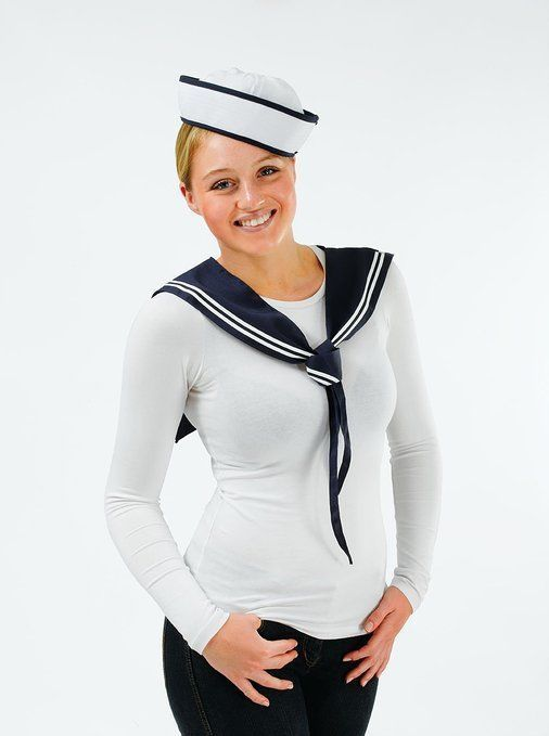 Navy White Sailor Ladies Kit Scarf & Hat Ladies Fancy Dress Costume Hen Party in Clothes, Shoes & Accessories, Fancy Dress & Period Costume, Fancy Dress | eBay