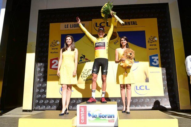 Stage 5. Limoges to Le Lioran. Greg Van Avermaet in Yellow.
