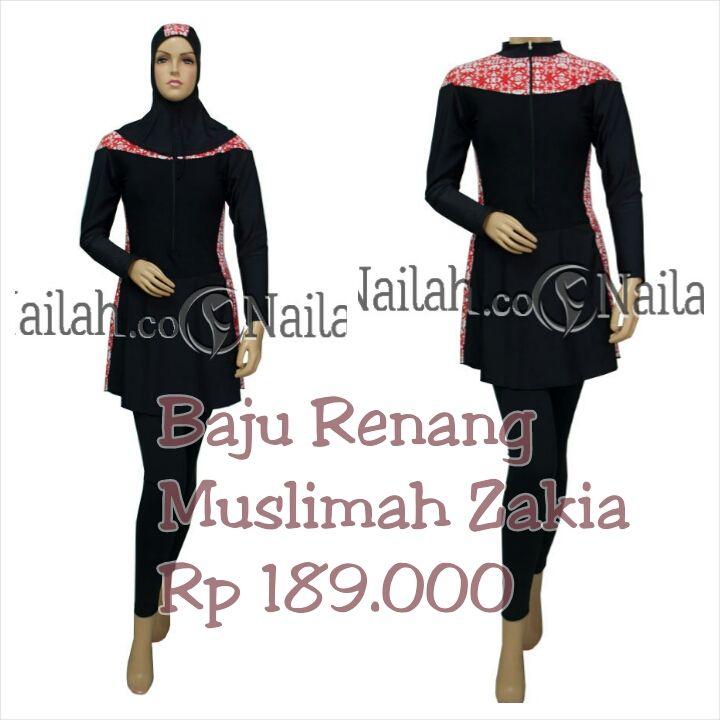 Baju Renang Muslimah Zakia, Harga Rp 189.000,- terbuat dari bahan Dove. Tersedia ukuran : M, L, XL, XXL