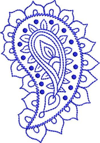 Paisley embroidery pattern | Bluework Paisley embroidery design | This would be a beautiful henna design as well