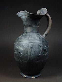 Όστρακο Αρχαία Τέχνη, ετρουσκική κεραμικής bucchero οινοχόη με πάνθηρες, 550-500…