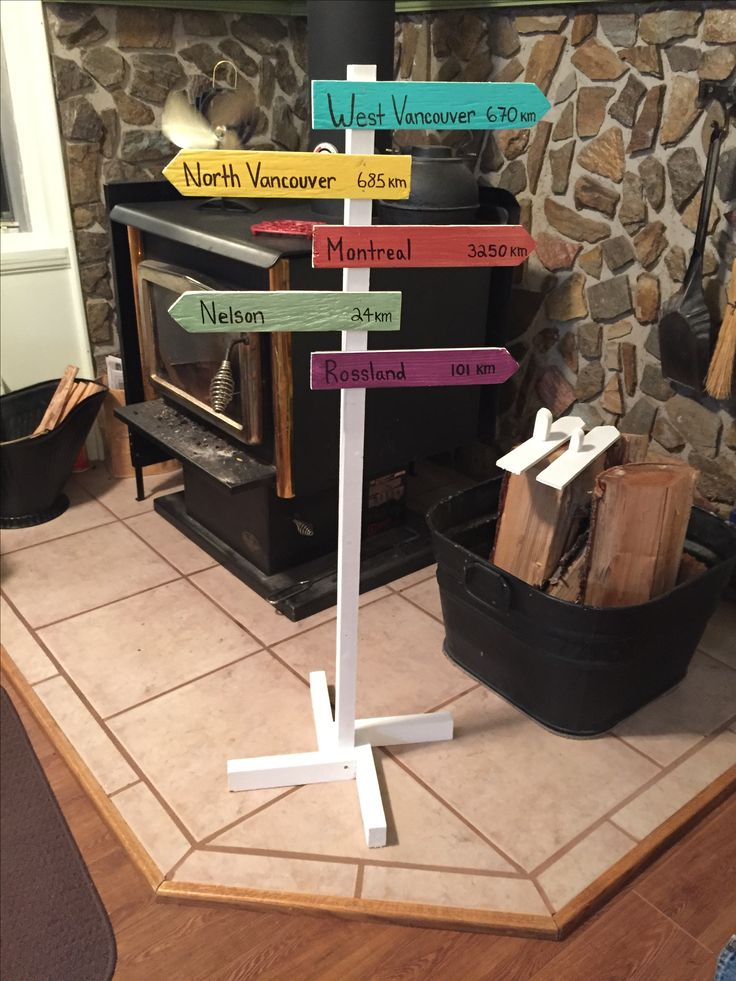 "Wooden arrow directional sign. Using whimsical bright colors helps show it off inside the room. Doing the names of cities they lived in made it very personal. Actually use ""google map"" to get the distance between the cities will make it special"