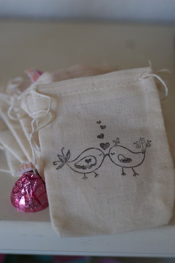 wedding favors Love Bird Favor Bags Muslin Favor 65 by aubabi78