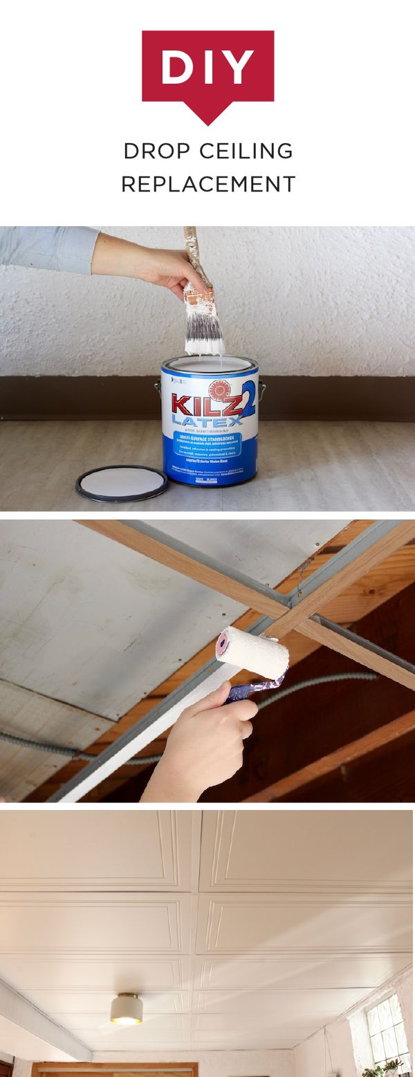Are you sick and tired of looking at your outdated drop ceiling? Check out this DIY drop ceiling replacement tutorial from Sarah, of the Surznick Common Room. Sarah remodeled her basement to make it an inviting space where she could entertain guests, starting with her stained and yellowing ceiling. She used Kilz 2 Latex Primer to give her ceiling a clean white finish.