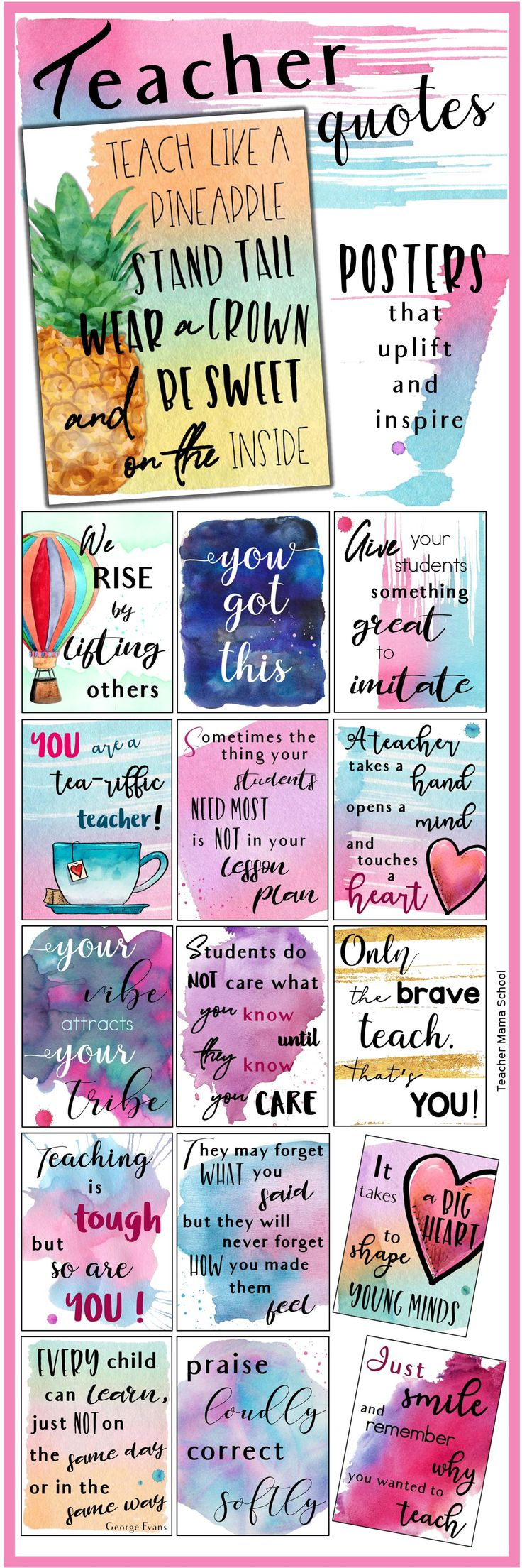 Teacher Quotes Posters to uplift, inspire and motivate teachers! In a beautiful watercolor theme. Just perfect to be put up in school areas where teachers hang out at such as the teacher's lounge. Also great to be given to your child's teachers as a Teacher Appreciation Day gift or as a note to fellow educators to remind them how precious their students are and how awesome they are as teachers!