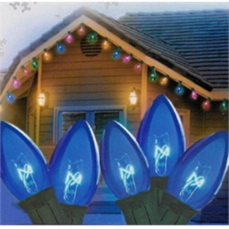 Set of 25 Transparent Blue C7 Christmas Lights 12 inch Spacing - Green Wire