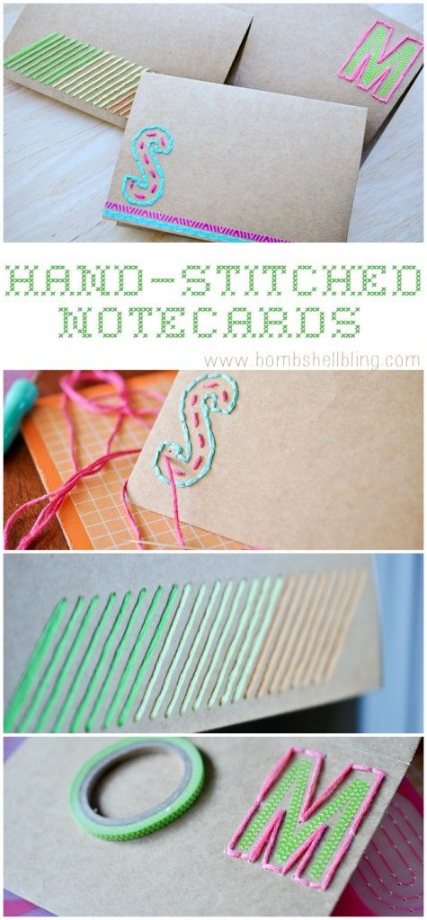 Hand Stitched Note Cards - CUTE and easy card making with the #AmyTangerine embroidery kits! by Bombshell Bling