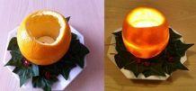 Tischdeko aus Orangenschalen