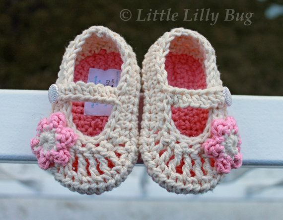 Crocheted Mary Jane Baby Booties in Cream and ❤ by LittleLillyBug, $18.00