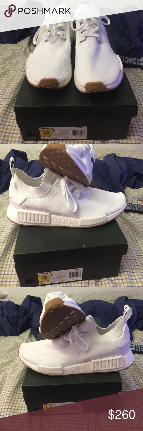 Adidas NMD_R1 PK All white with gum bottoms. Almost new condition. Worn once. Can't get them on footlocker Flight club these are 225$. Give me a fair offer on them. No low balling thanks Adidas Shoes Athletic Shoes