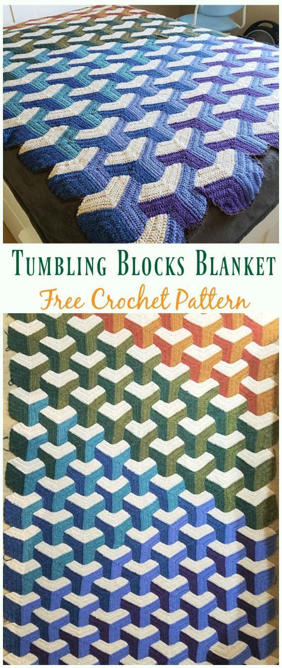 Tumbling Blocks Blanket Crochet Free Pattern Crochet Block
