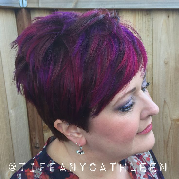 Pixie Cut With Magenta And Violet Balayage Highlights My Hairstyles Pinterest Magenta