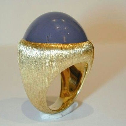A gold and chalcedony ring, by Henry Dunay. @henrydunay #finejewelry #chalcedony #brushedgold #newyork