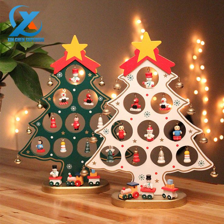 1PC DIY Cartoon Wooden Christmas Tree Decoration Christmas Gift Ornament Table Desk Decoration