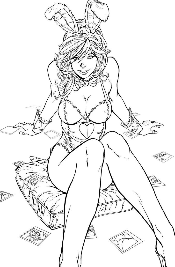 white rabbit inks by chrisnewmann on deviantart - Sexy Coloring Book
