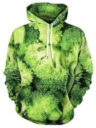 Broccoli Print Drawstring Neck Hoodie Mobile