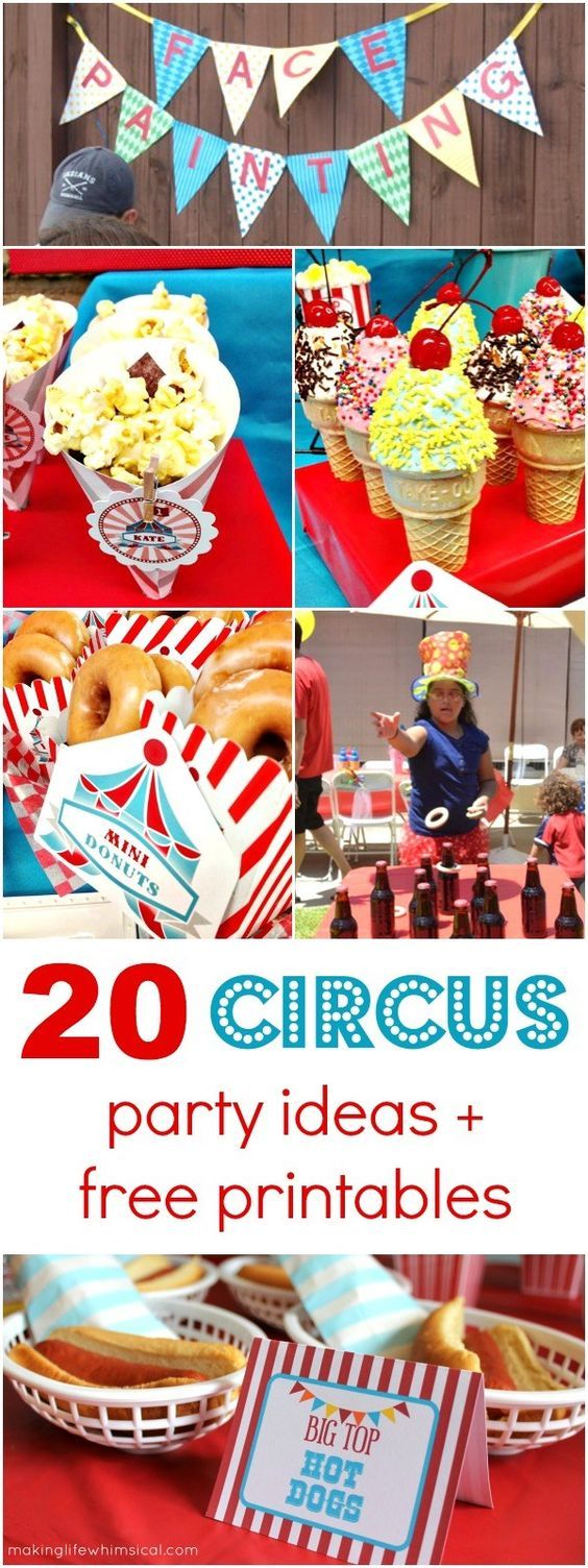 Click here for 20 Simple Circus Party Ideas + Free Circus Printables
