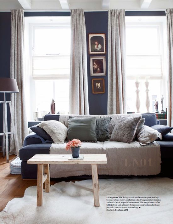 Dark blue living room © Jeltje Janmaat Elle Decor Uk