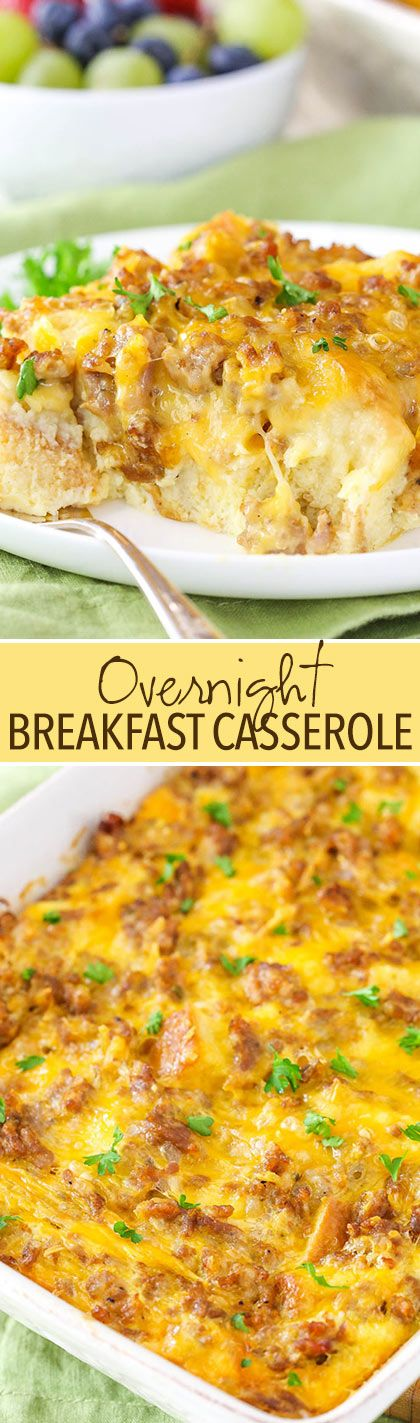 Overnight Sausage and Egg Breakfast Casserole - a classic for holiday mornings!
