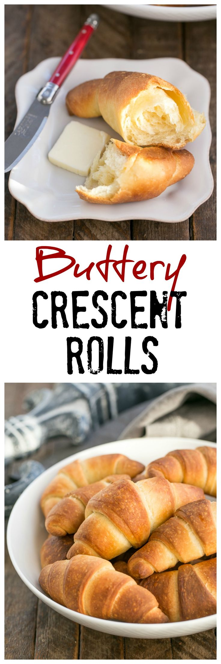 Buttery Homemade Crescent Rolls | Tender, flaky yeast rolls! @lizzydo